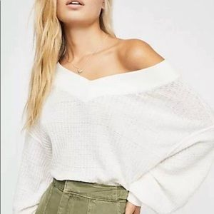 WE THE FREE PEOPLE SOUTH SIDE THERMAL TOP WHITE